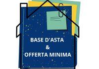 Disegno di una casa e documenti di base d'asta e offerta minima