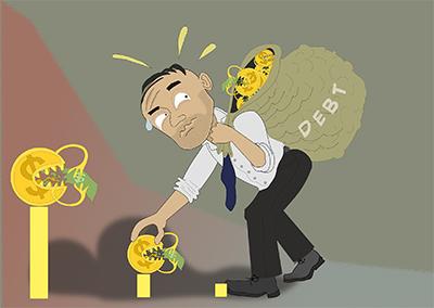 Debitore trascina sacco pieno di debiti